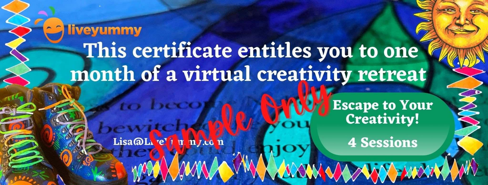 Escape to Your Creativity Certificate Z Seekers Live Yummy